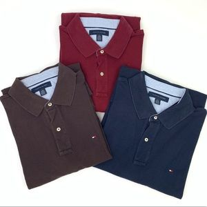 (3) Tommy Hilfiger Long Sleeve Polo Shirt Bundle.